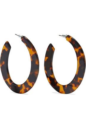 KENNETH JAY LANE Silver-tone tortoiseshell resin hoop earrings