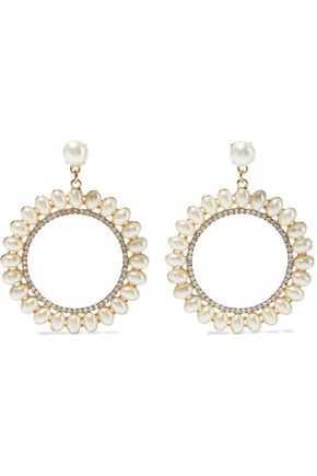 KENNETH JAY LANE Gold-plated, faux pearl and crystal hoop earrings