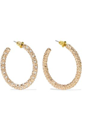 KENNETH JAY LANE Gold-plated crystal-embellished hoop earrings