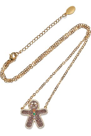 NOIR JEWELRY Gingerbread Man 14-karat gold-plated crystal necklace