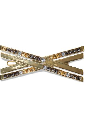 NOIR JEWELRY 14-karat gold-plated, crystal and enamel hair clip