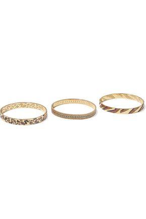 NOIR JEWELRY Set of three 14-karat gold-plated crystal bangles
