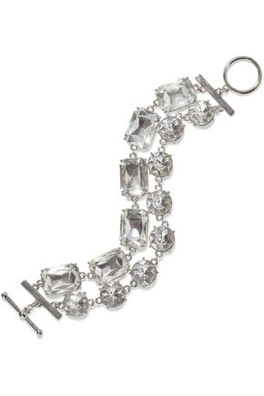 KENNETH JAY LANE Rhodium-plated crystal bracelet