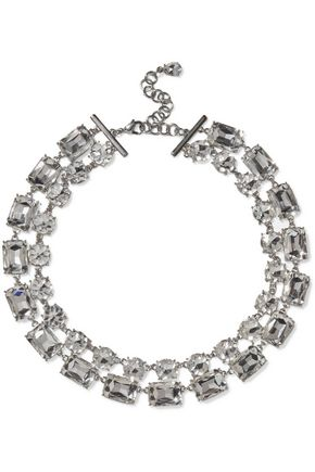 KENNETH JAY LANE Rhodium-plated crystal necklace