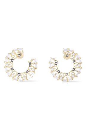 NOIR JEWELRY Twinkle Trimmings 14-karat gold-plated crystal earrings