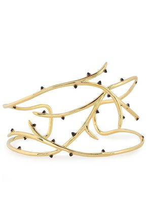 NOIR JEWELRY 14-karat gold-plated crystal cuff