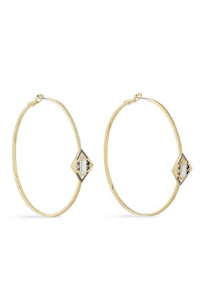 NOIR JEWELRY Conquerer 14-karat gold-plated crystal hoop earrings