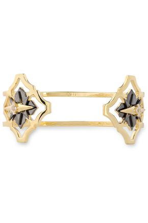 NOIR JEWELRY 14-karat gold-plated crystal cuff
