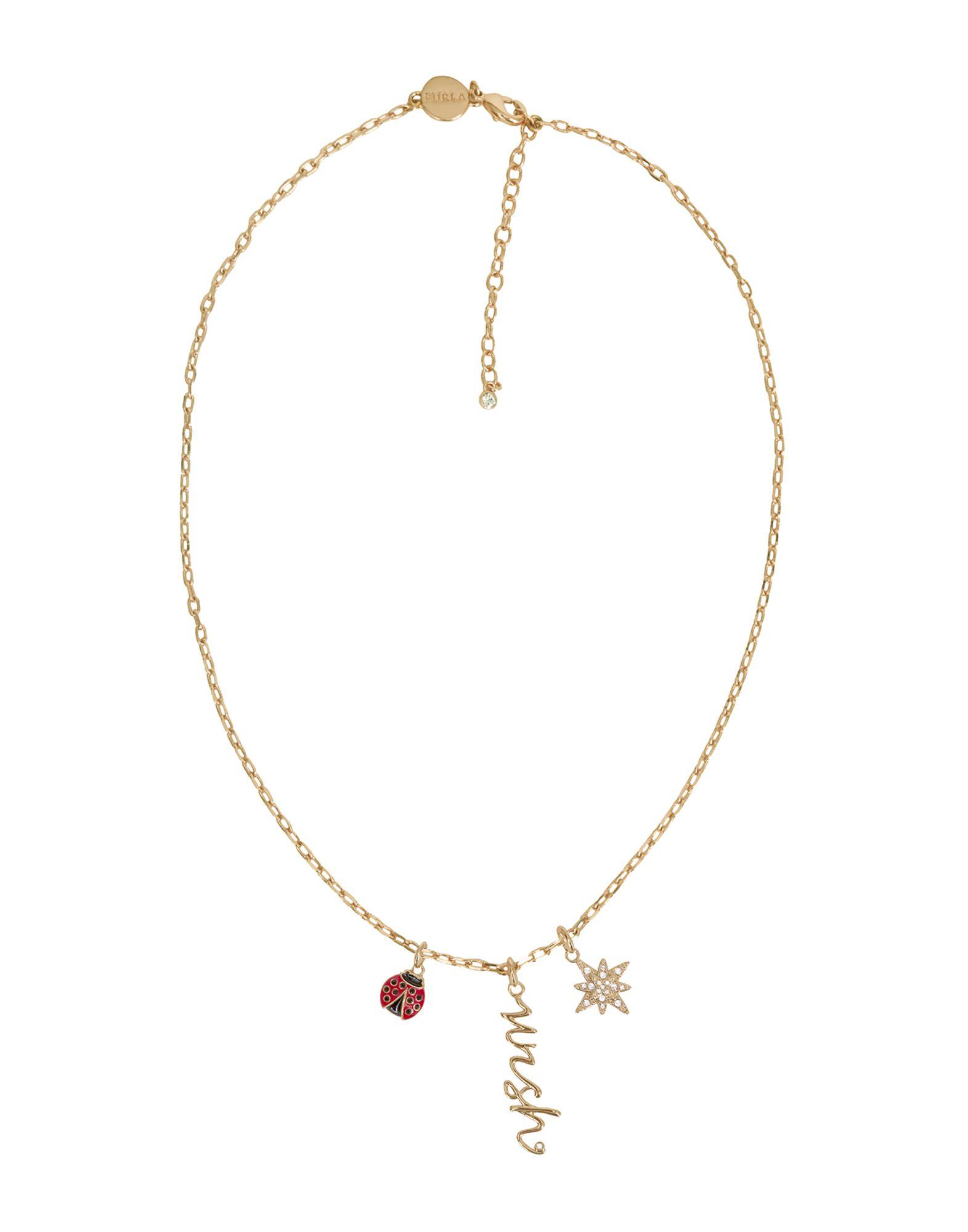 FURLA Necklaces. logo, crystals, adjustable hook and chain fastening. 65% Metal, 30% Swarovski crystal, 5% Enamel