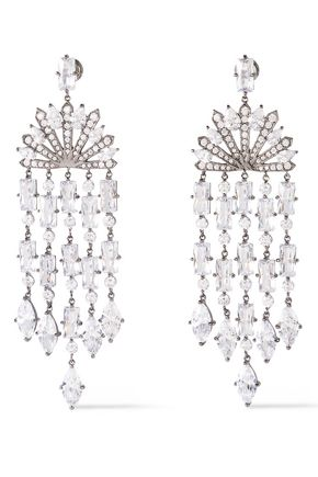 NOIR JEWELRY Cosmic Rain rhodium-plated crystal earrings