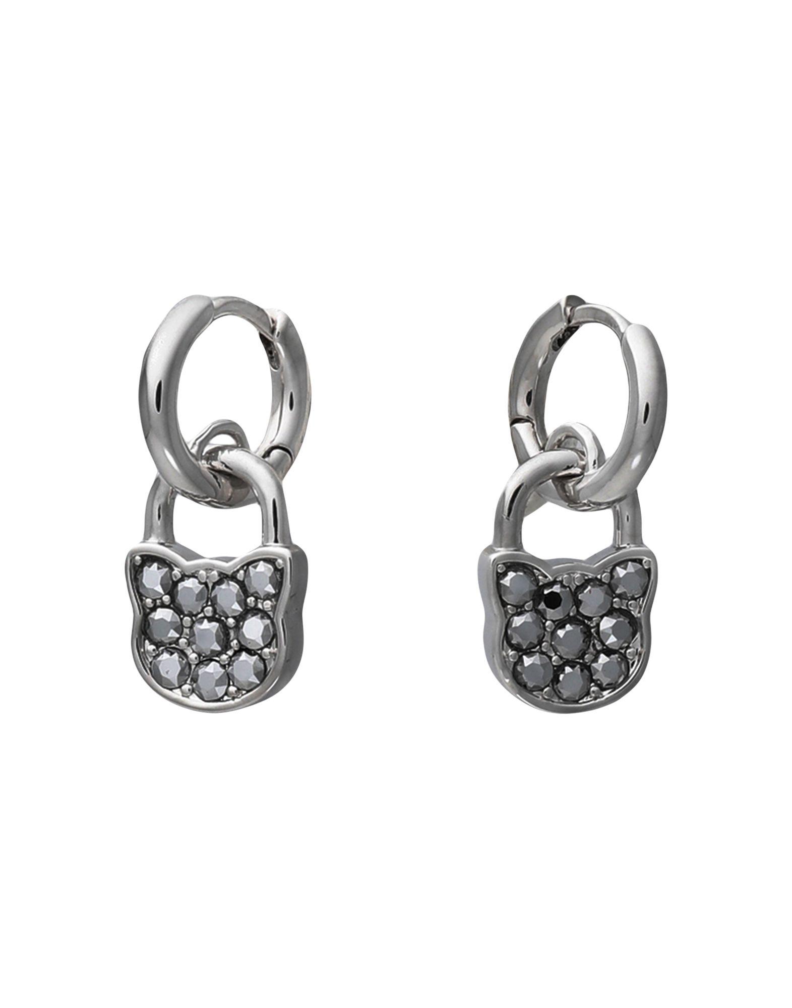 《セール開催中》KARL LAGERFELD レディース イヤリング シルバー 真鍮/ブラス / スワロフスキー SMALL CHOUPETTE LOCK HOOP