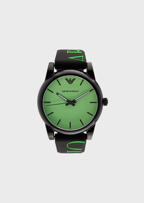 Emporio Armani Rubber Strap Watches - Item 50237890 In Black