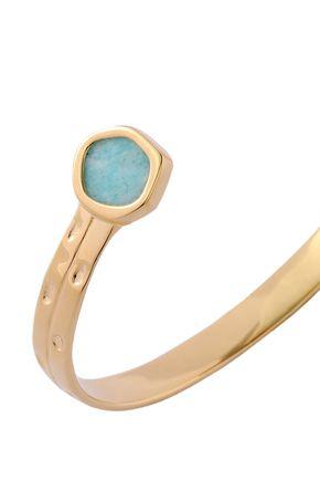 """MONICA VINADER سوار """"أتلنتيس"""" من الفضة المطلية بالذهب عيار 18 قيراط مع حجر الأمازونيت"""