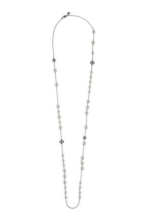 TORY BURCH Silver-tone, faux pearl and crystal necklace