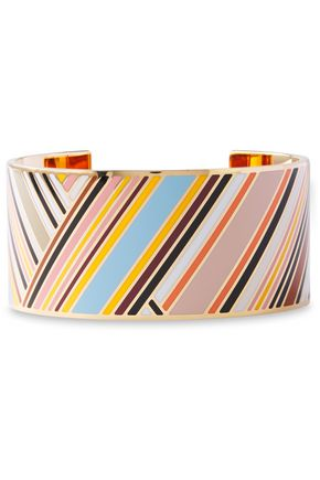 TORY BURCH Gold-tone striped resin bracelet