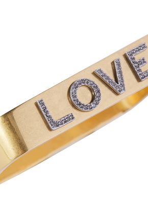 TORY BURCH Love gold-tone and crystal bangle