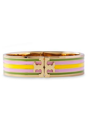 TORY BURCH Gold-tone striped enamel bracelet