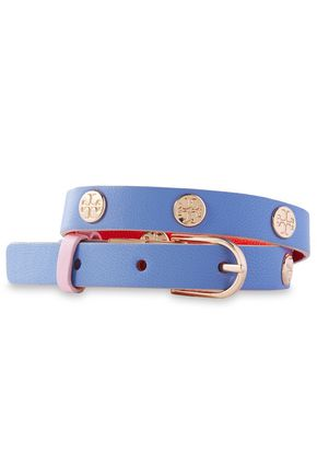 TORY BURCH Rose gold-tone studded leather bracelet