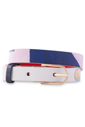TORY BURCH Reversible logo-appliquéd printed leather bracelet