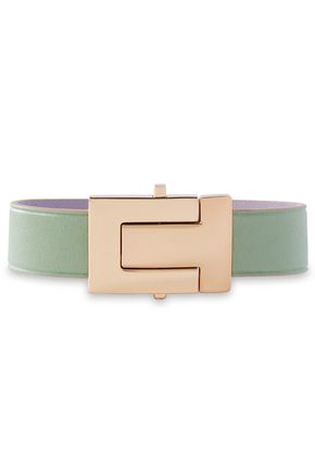 TORY BURCH Silver-tone leather bracelet
