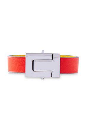 TORY BURCH Silver-tone color-block leather bracelet
