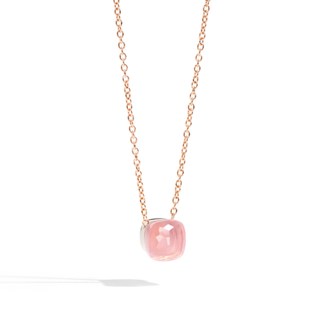 POMELLATO Rose Quartz Nudo Pendant with Chain F.B601 E f
