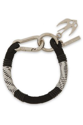 McQ Alexander McQueen Swallow silver-tone, braided cord and leather bracelet