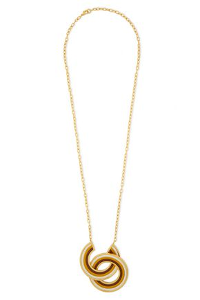 MARNI Gold-tone leather necklace