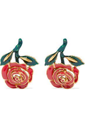 OSCAR DE LA RENTA Gold-tone resin earrings