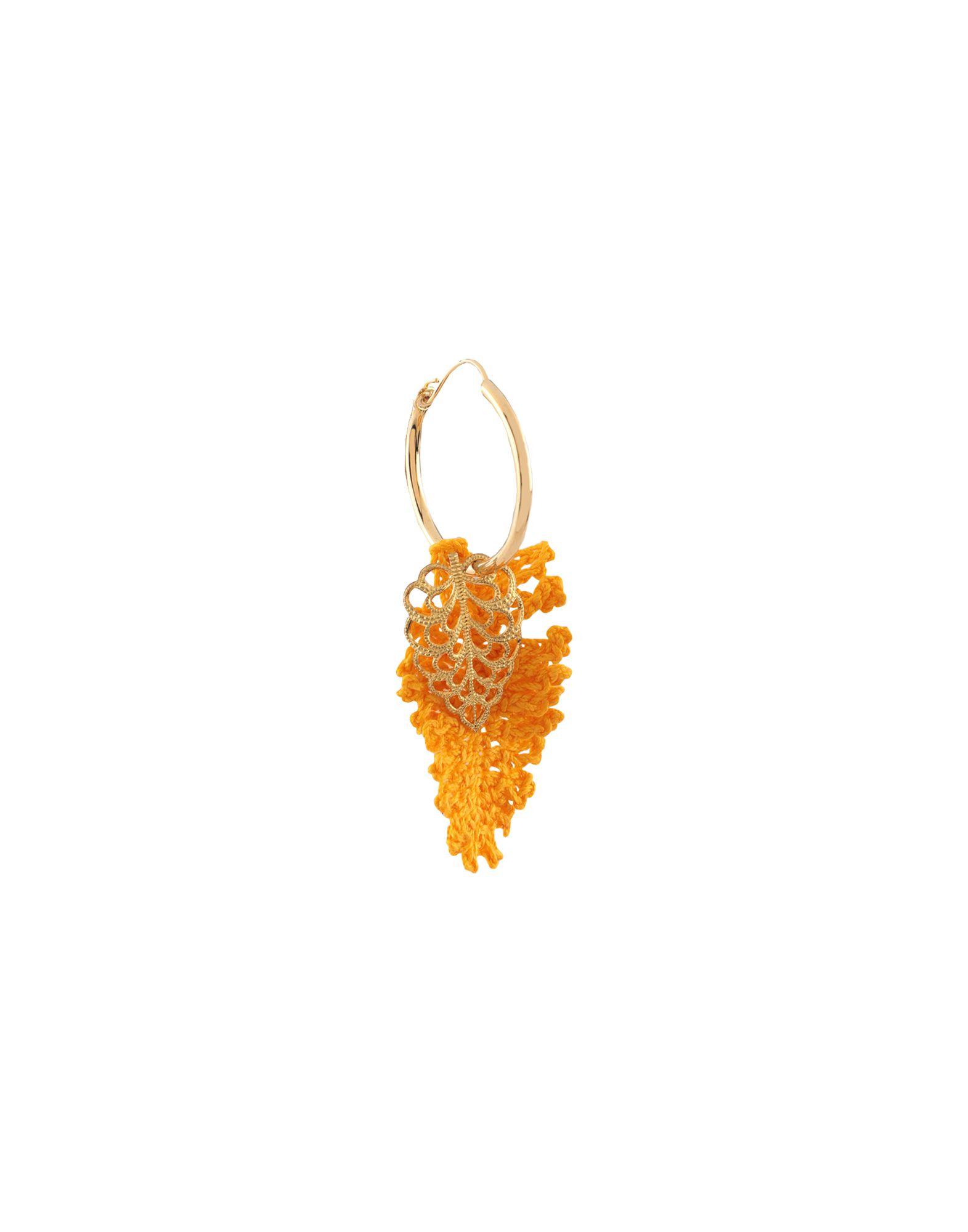 《セール開催中》LUPE レディース ピアス&イヤリング オレンジ 金属 / 紡績繊維
