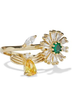 CZ by KENNETH JAY LANE Gold-plated crystal ring
