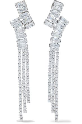 CZ by KENNETH JAY LANE Rhodium-plated crystal earrings