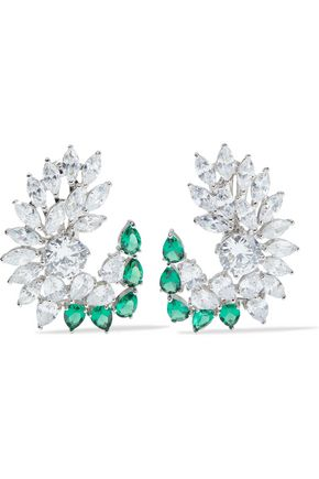 CZ by KENNETH JAY LANE Rhodium-plated crystal clip earrings