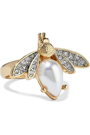 KENNETH JAY LANE Gold-plated, faux pearl and crystal ring