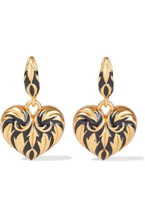 OSCAR DE LA RENTA Gold-tone enamel earrings