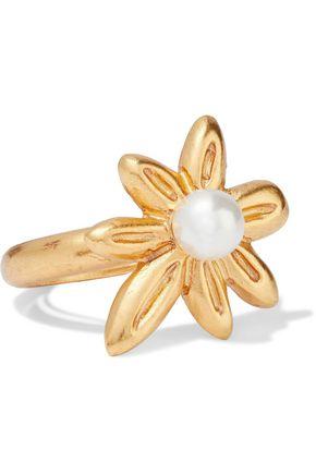 OSCAR DE LA RENTA خاتم باللون الذهبي مع اللؤلؤ الاصطناعي