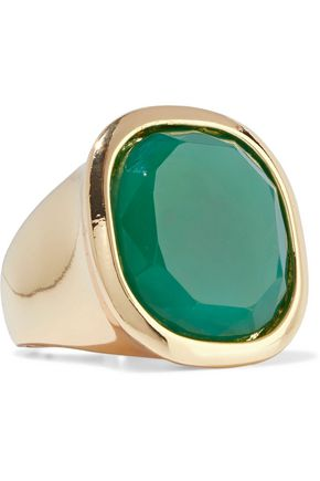 KENNETH JAY LANE Gold-plated stone ring