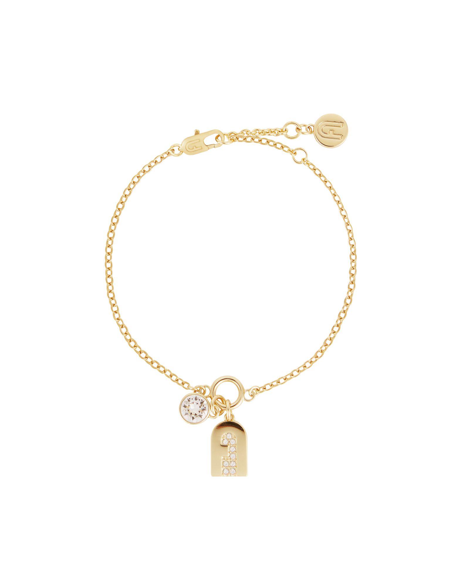 FURLA Bracelets. rhinestones, logo, adjustable hook and chain fastening. 90% Metal, 10% Swarovski crystal