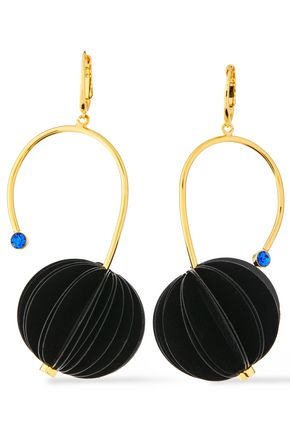MARNI Gold-tone resin and crystal earrings