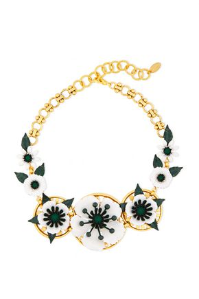 ELIZABETH COLE 24-karat gold-plated, crystal and resin necklace