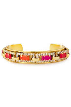 ELIZABETH COLE 24-karat gold-plated crystal cuff