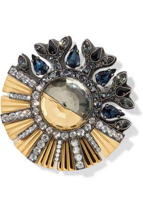 LANVIN Gold and gunmetal-tone crystal brooch