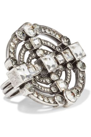 LANVIN Silver-tone crystal ring