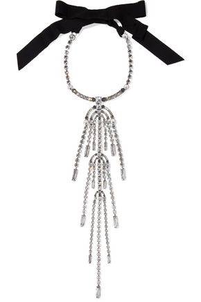 LANVIN Burnished silver-tone, grosgrain and crystal necklace