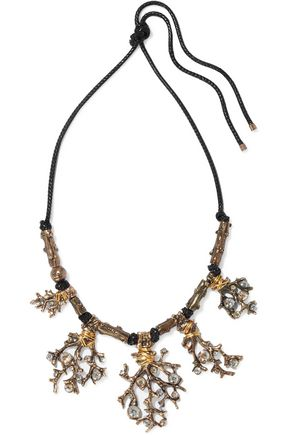 LANVIN Oxidized gold-tone, cord and crystal necklace