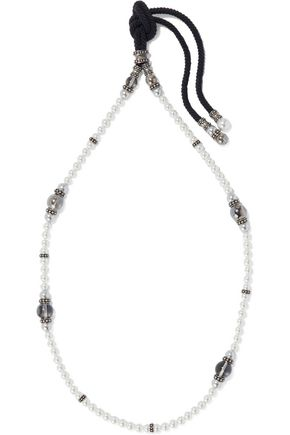 LANVIN Oxidized silver-tone, faux pearl, bead and cord necklace