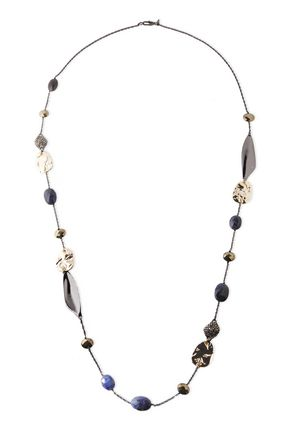 ALEXIS BITTAR Gunmetal and gold-tone crystal and stone necklace