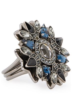LANVIN Gunmetal-tone crystal ring
