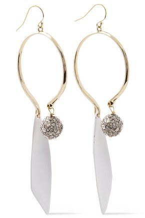 ALEXIS BITTAR Gold-tone, crystal and enamel earrings