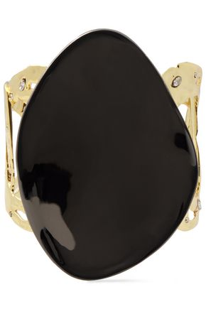 ALEXIS BITTAR Hammered gold-tone, enamel and crystal cuff